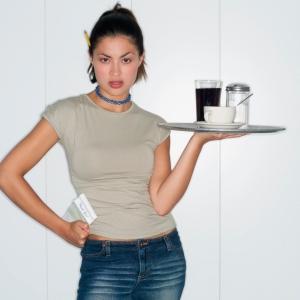Waitress Holding Tray